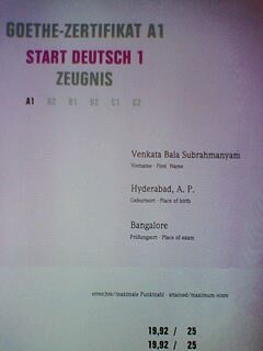 Goethe Zertifikat A1 Zeugnis