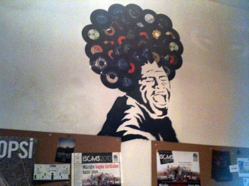 Record store wall in Istanbul