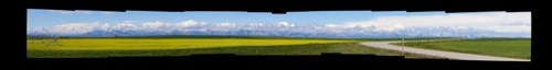 A panorama of the mountains of Glacier National Park as we approached from the east