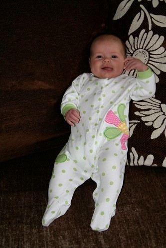 12 weeks old! It turned cold for a few days, so we got to experience footie pajamas.