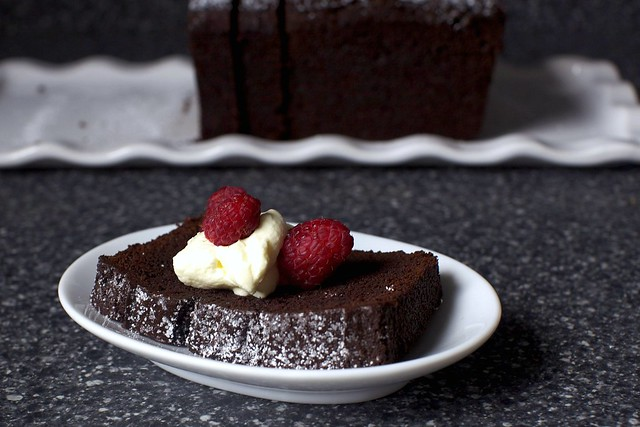 chocolate cake + cream + raspberries