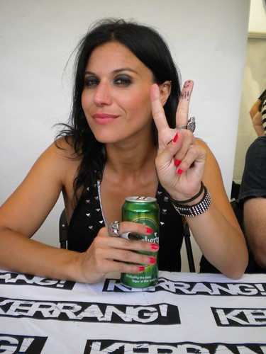 Lacuna Coil in the Kerrang signing tent