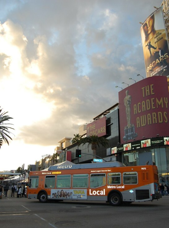 Metro bus makes a detour for The Academy Awards. Photo by MicheleMarieCA.