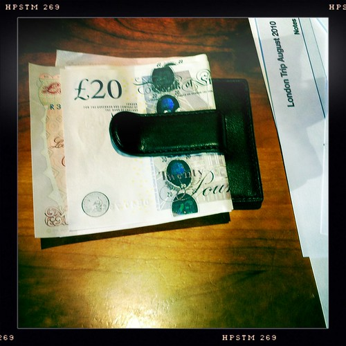 Money clip with British pounds