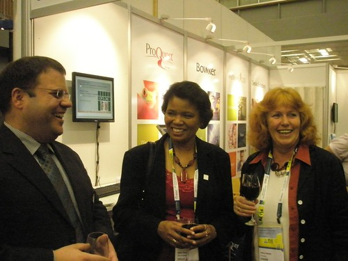 Claus Wolf from ProQuest, IFLA president Ellen Tise, Secretary/Treasurer/Editor of Newsletter of the Education and Training Section Petra Hauke at the student paper award at the ProQuest booth at the IFLA2010 in Gothenburg.