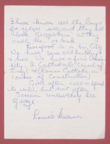 Letter from Beatle George Harrison's mother Louise - page 2