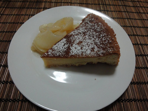 Cake + poached pears