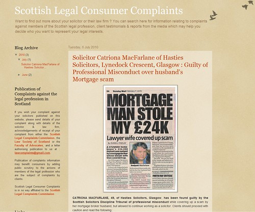 Solicitor Catriona MacFarlane Scottish Legal Consumer Complaints Alert