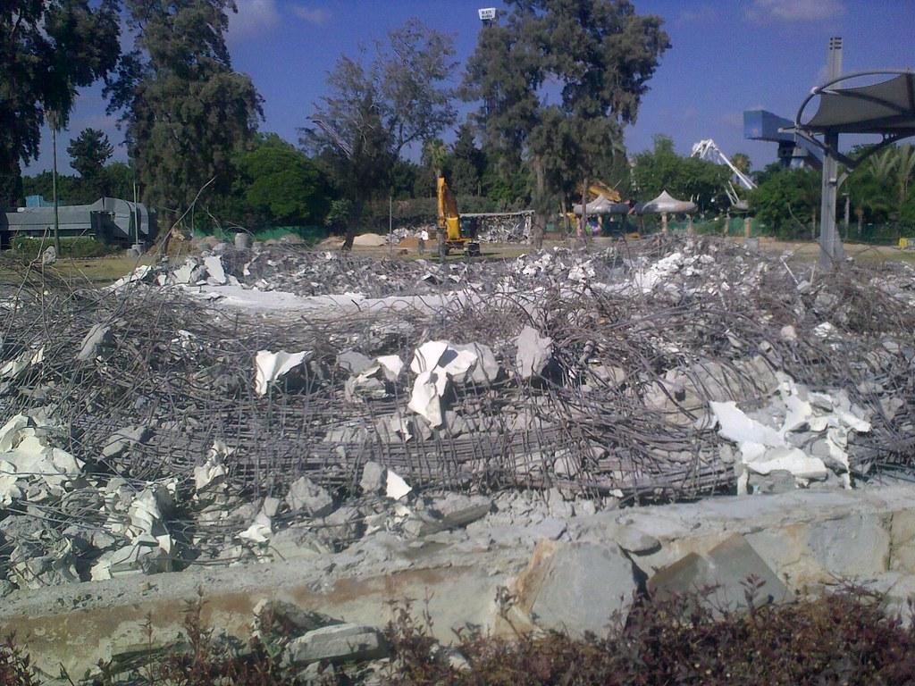 הרס הביתן העגול במרכז הירידים