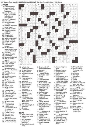 NYT Sunday Puzzle - 8/1/10