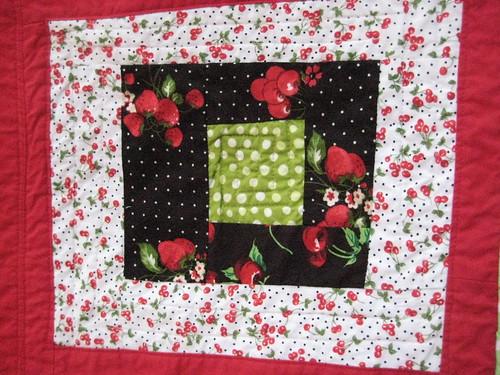 Cherry baby quilt block