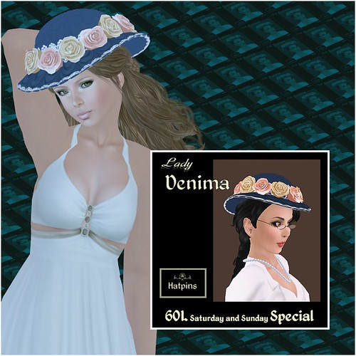 Hatpins - Lady Denima - Peaches and Cream Roses - Sixty Linden Weekend