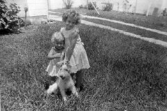 Sisters Judy and Susan Becker with their dog: ...