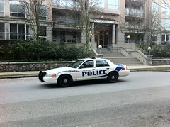 Vancouver police cruiser at 10th and Cambie
