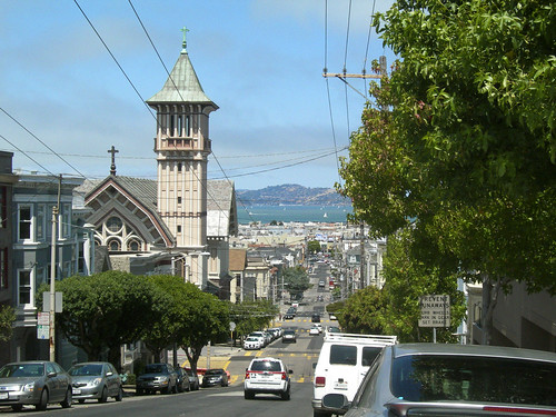 view of the Marina and San Francisco Bay from Steiner Street