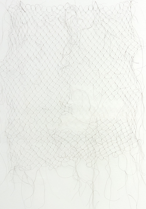 Woven hair. size variable, roughly 100cmx200cm (extends to gallery floor/walls. Nicci Haynes 2009