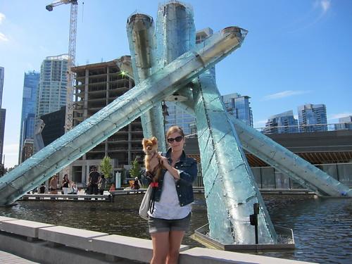 Tanie & Georgie at the Olympic Cauldron/Fountain