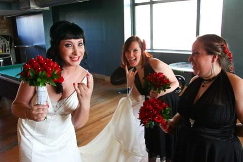 Dana Horns Up! With Bridesmaids Rachel and Laurel Rosenberg! Photo by Michael Raffin