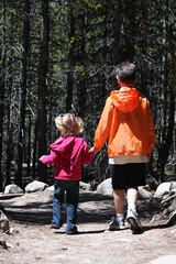 Claire and Will hiking together in Rocky Mountain National Park