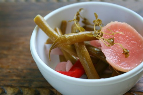 Fermented Green Beans with Radishes, Red Onions and Thyme