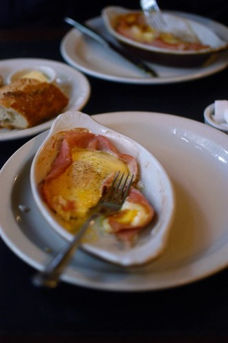 eggs with ham and gruyere