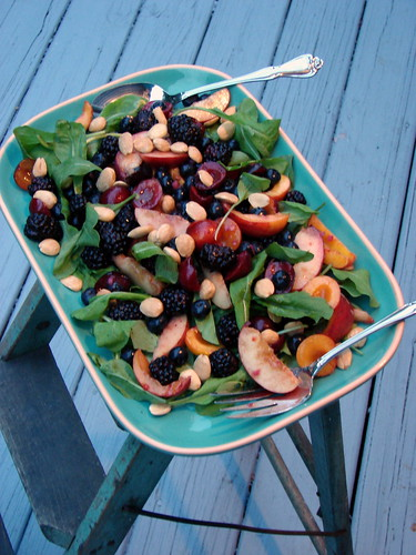 summer fruit salad with arugula and marcona almonds