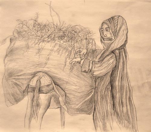 lady and donkey