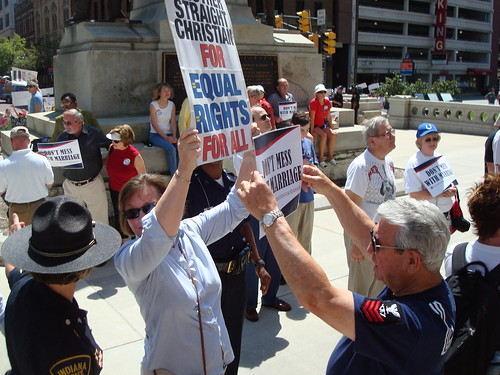 Rally supporters confronting each other in Indianapolis
