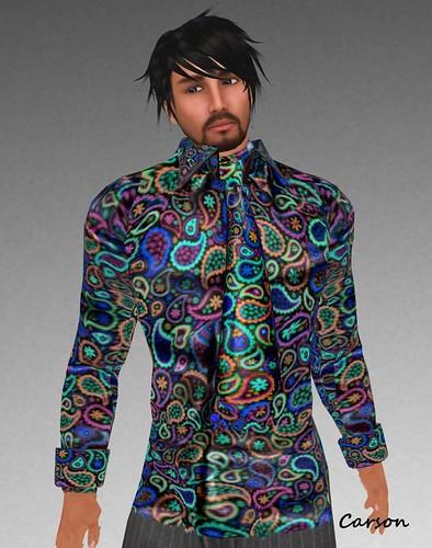 sf design paisley shirt and kipper tie - multi