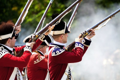 Redcoats prepare to fire again