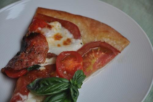 Whole Wheat Heirloom Tomato and Finocchiona Pizza