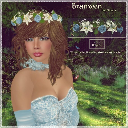 Hatpins - Branwen Wreath - Sky Rose - Hump Day Happiness Sale