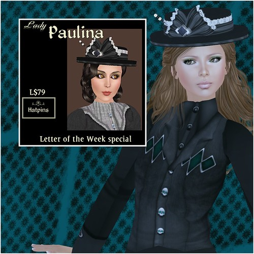 Hatpins - Lady Paulina - Black and Pearl - Letter of the Week Sale
