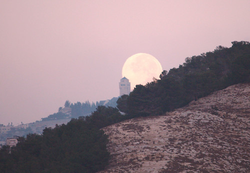 Moon setting over Mount of Olives