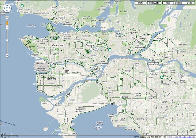 Vancouver Bike Network According to Google Maps