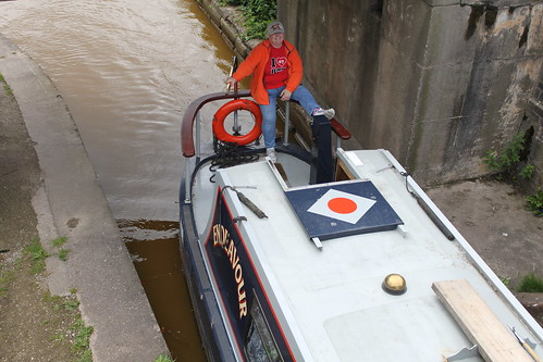 Mum working the boat
