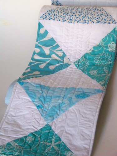 light blue hour glass block patchwork tablerunner