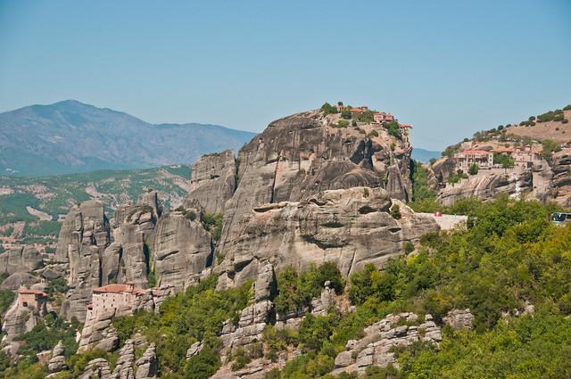 Four Monasteries - from the left, St Nickolas, Rousanou, Grand Meteora, Verlaam