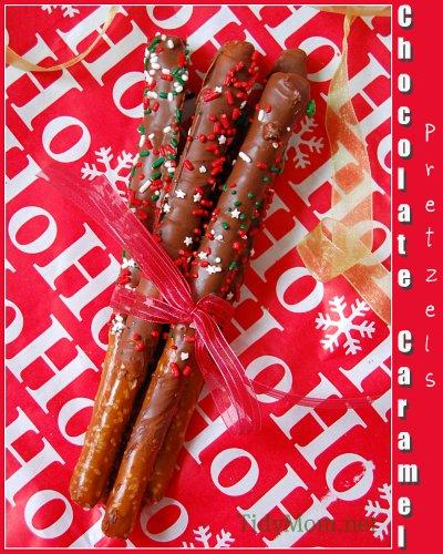 Chocolate Caramel Dipped Pretzels