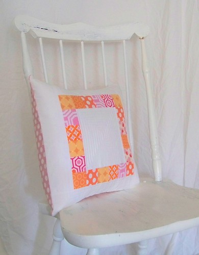 Patchwork pillow - orange and pink squares with white by pioneervalleygirl (bibliophile1.etsy.com)