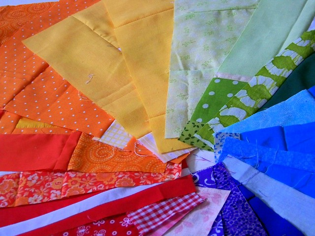 "colorwheel of charity patchwork blocks for Anna Maria Horner's ""Rainbow Around the Block"""