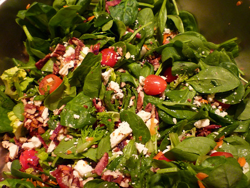 Spinach Salad with mint, feta, bacon, & pecans