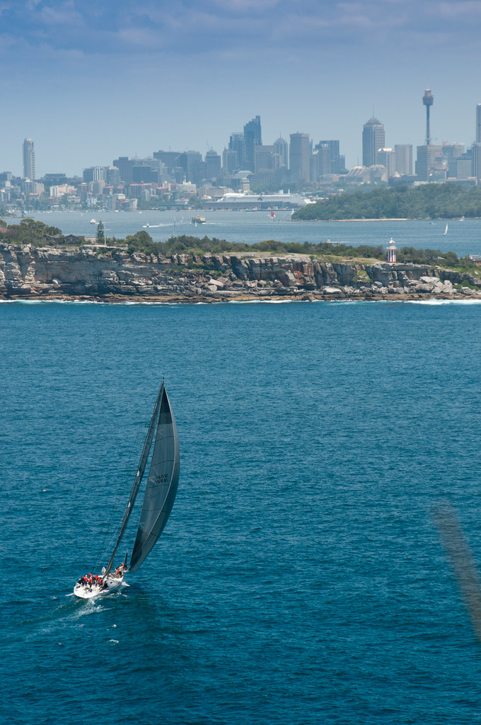 Ocean-going yacht entering Sydney Harbour