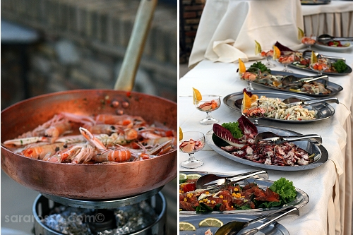 Seafood buffet at a Pugliese wedding in Abruzzo