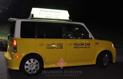 Yellow taxi cab get away car