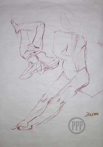 Two 30 second gestures Life drawing, 20 min Life drawing, Conté on newsprint