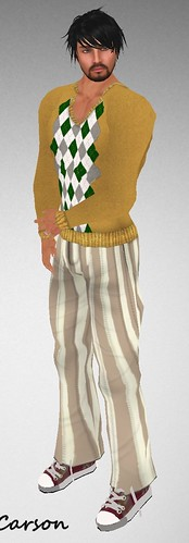 MHOH4 # 116 - SHIKI Designs Mustard Argyle Sweater and Caramel Striped Pants