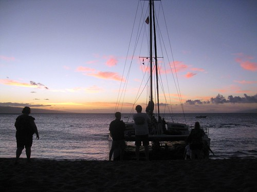 the catamaran on the beach