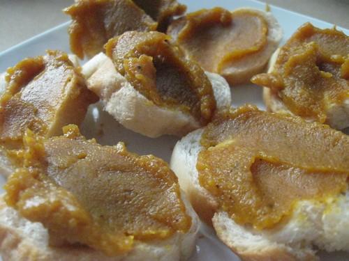 Pumpkin butter on baguette rounds