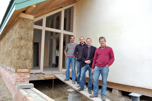 L-R Builders Marc Powell and Steve Pullen with architect Nigel Keen and farmer Nigel Wookey